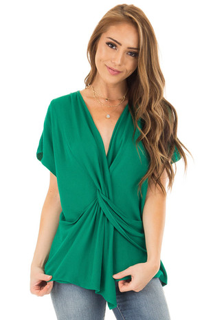 Emerald Short Sleeve Top with Twist Detail front close up