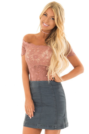 Stone High Waisted Denim Mini Skirt front close up