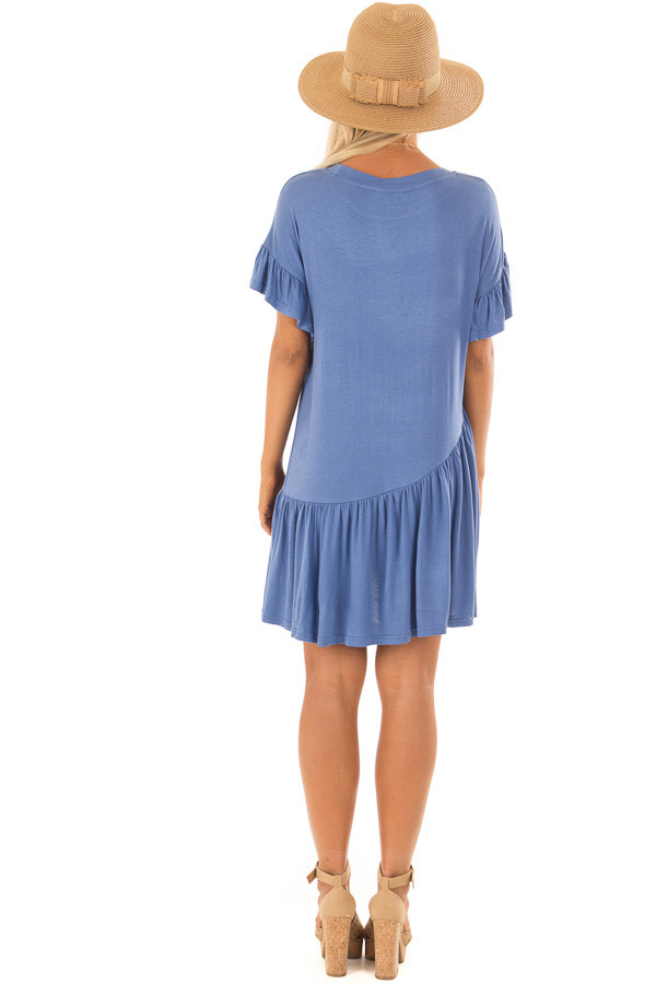 Dusty Blue Short Sleeve T Shirt Dress back full body