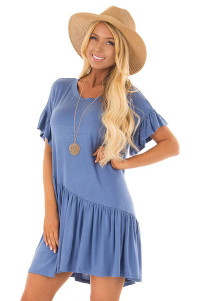 Dusty Blue Short Sleeve T Shirt Dress front close up