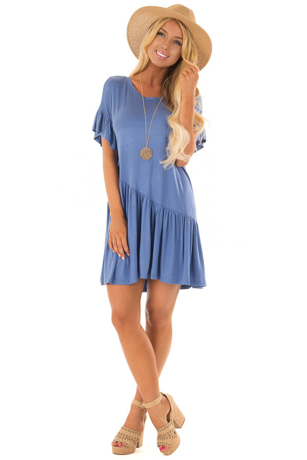 Dusty Blue Short Sleeve T Shirt Dress front full body