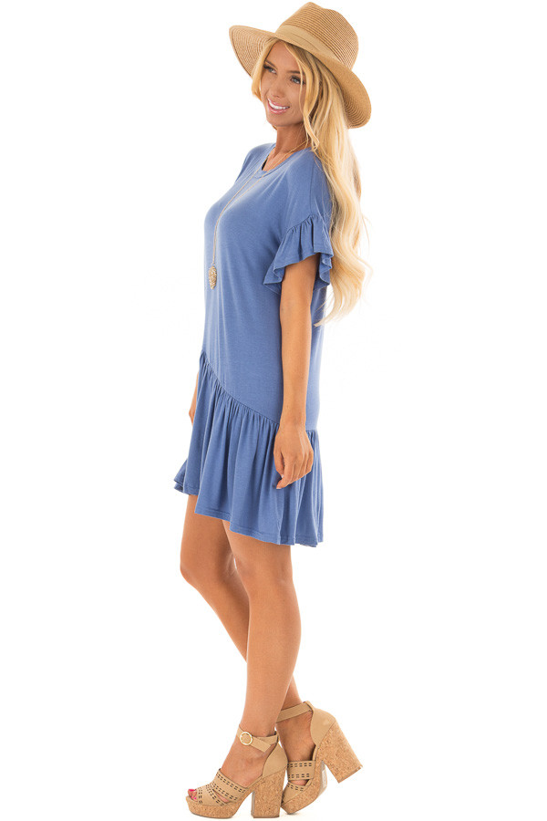 Dusty Blue Short Sleeve T Shirt Dress side full body