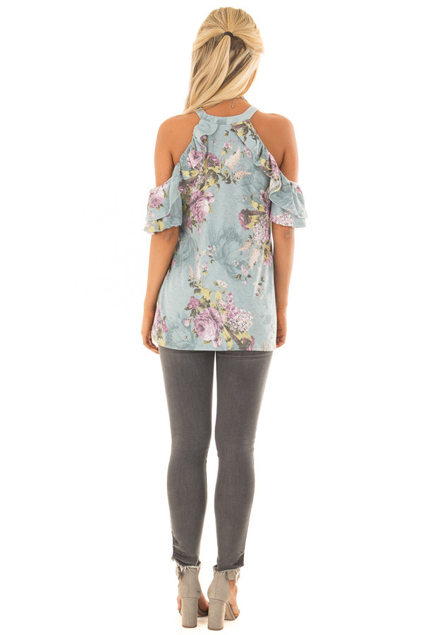 Dusty Mint Cold Shoulder Floral Top with Ruffle Sleeves back full body