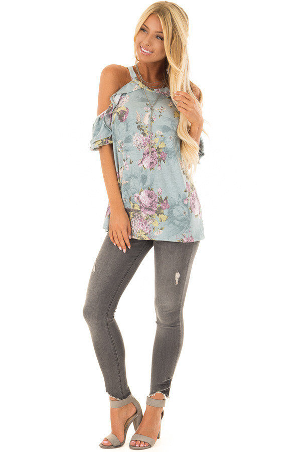 Dusty Mint Cold Shoulder Floral Top with Ruffle Sleeves front full body