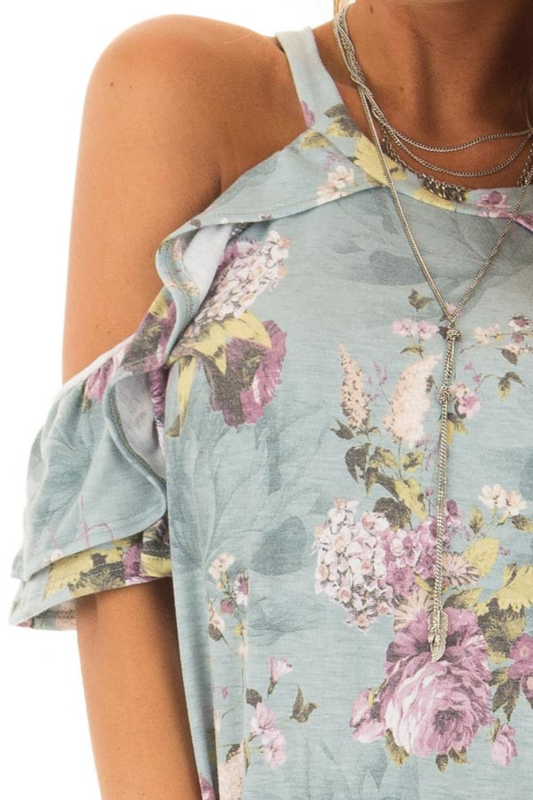 Dusty Mint Cold Shoulder Floral Top with Ruffle Sleeves detail