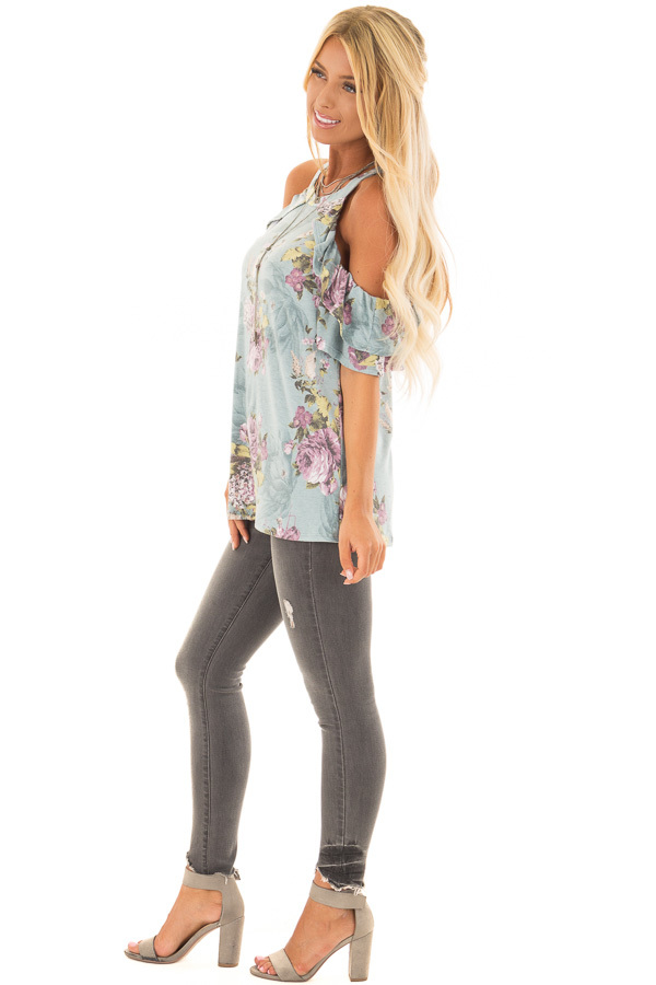 Dusty Mint Cold Shoulder Floral Top with Ruffle Sleeves side full body