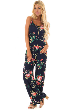 Navy Floral Print Jumpsuit with Waist Tie front full body
