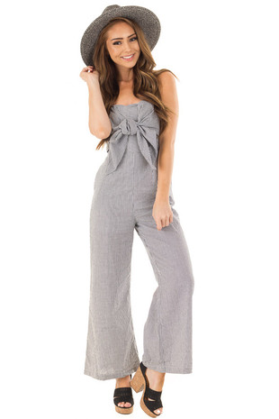 Black and White Striped Strapless Jumpsuit front full body