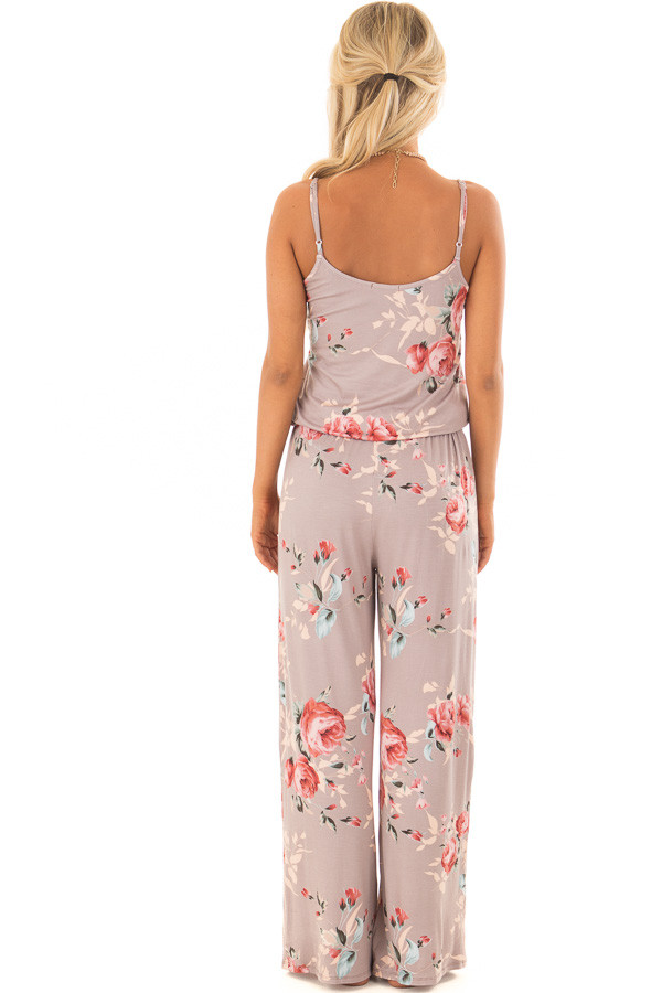 Mocha Floral Print Jumpsuit with Waist Tie back full body