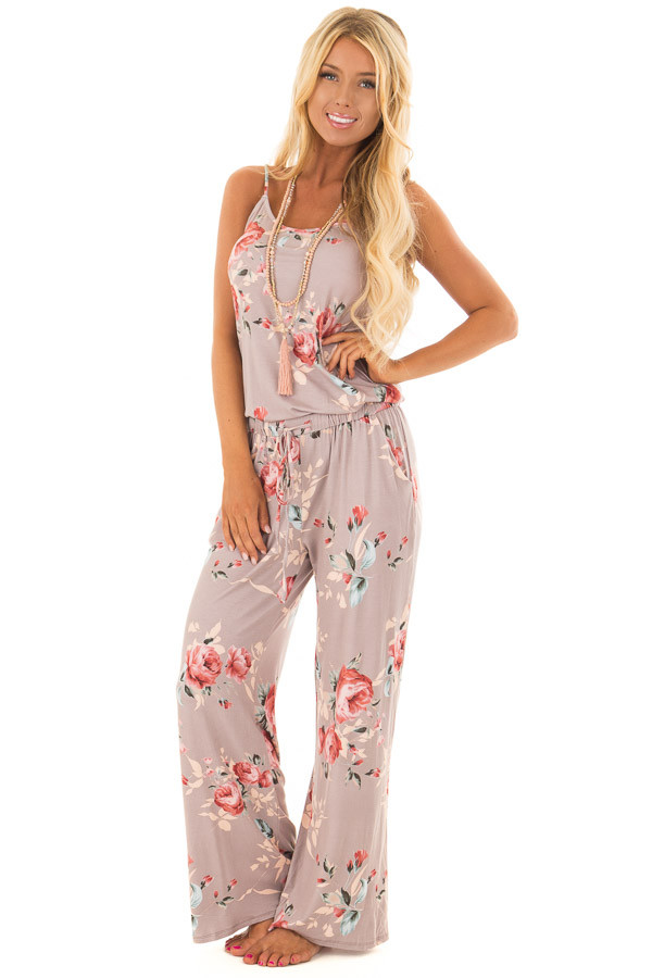Mocha Floral Print Jumpsuit with Waist Tie front full body