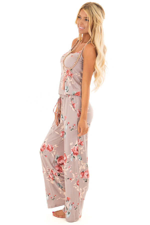 Mocha Floral Print Jumpsuit with Waist Tie side full body