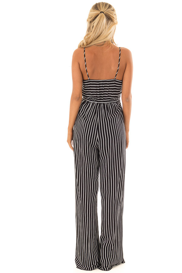 Black and  Off White Striped Jumpsuit with Cut Out and Front Tie back full body