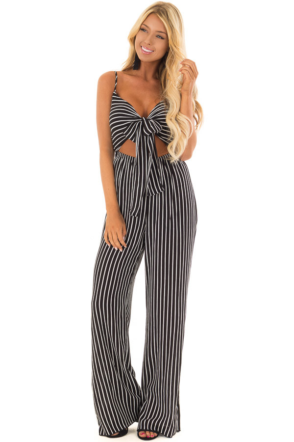 Black and  Off White Striped Jumpsuit with Cut Out and Front Tie front full body
