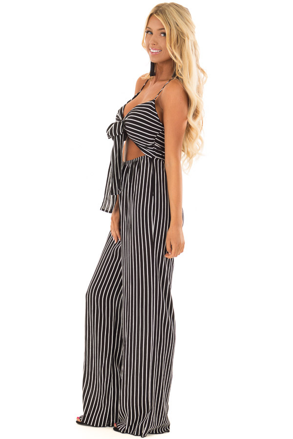 Black and  Off White Striped Jumpsuit with Cut Out and Front Tie side full body