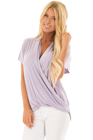Lavender Short Sleeve Surplice Top front close up