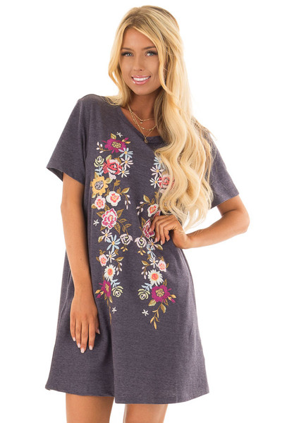 Navy Short Sleeve Floral Embroidered Dress with Pockets front close up