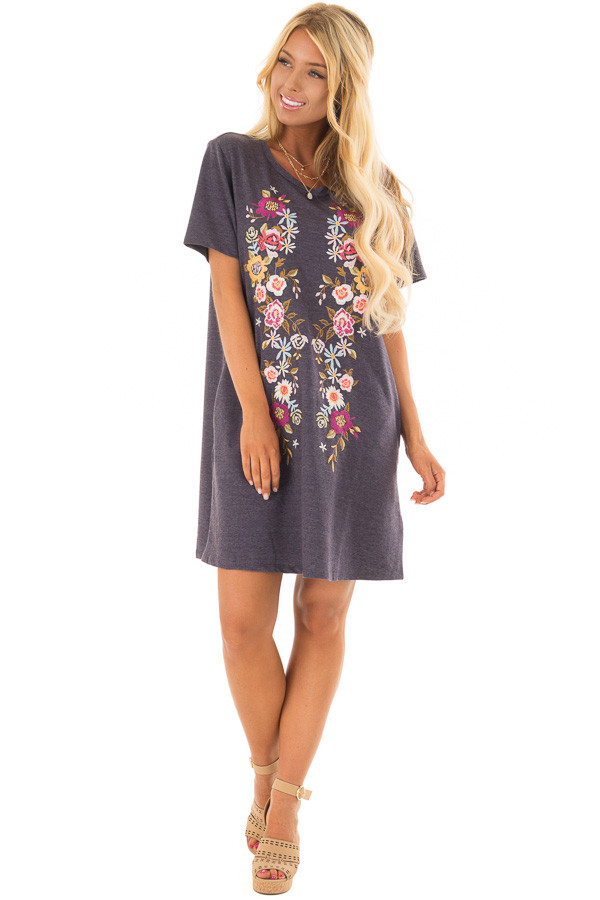 Navy Short Sleeve Floral Embroidered Dress with Pockets front full body