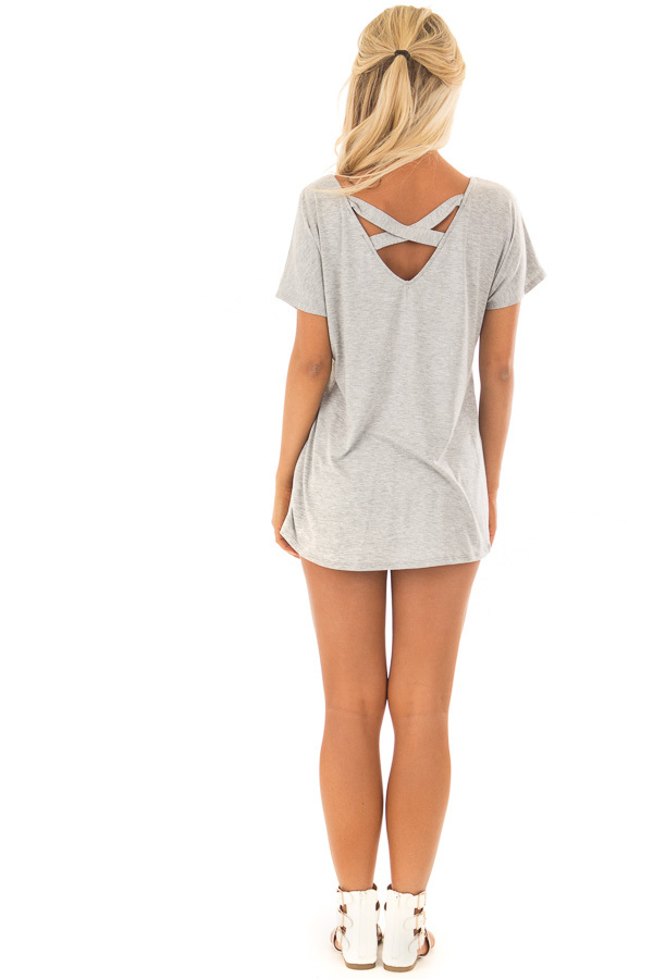 Heather Grey Short Sleeve Top with Criss Cross Back back full body