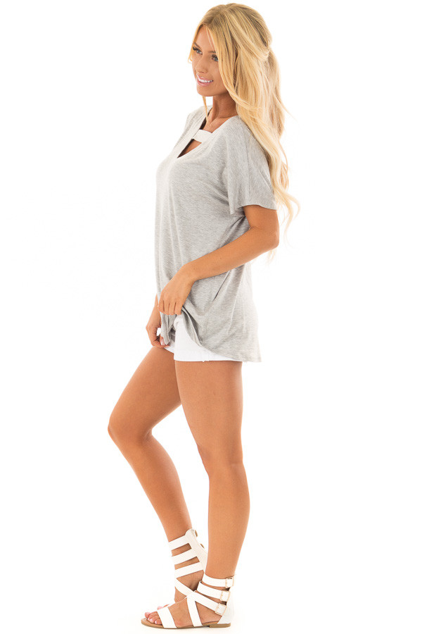 Heather Grey Short Sleeve Top with Criss Cross Back side full body