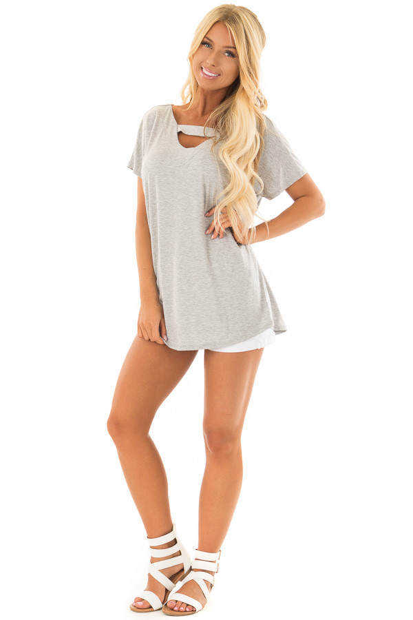 Heather Grey Short Sleeve Top with Criss Cross Back front full body
