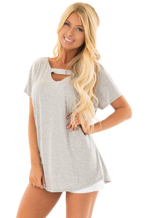 Heather Grey Short Sleeve Top with Criss Cross Back front closeup
