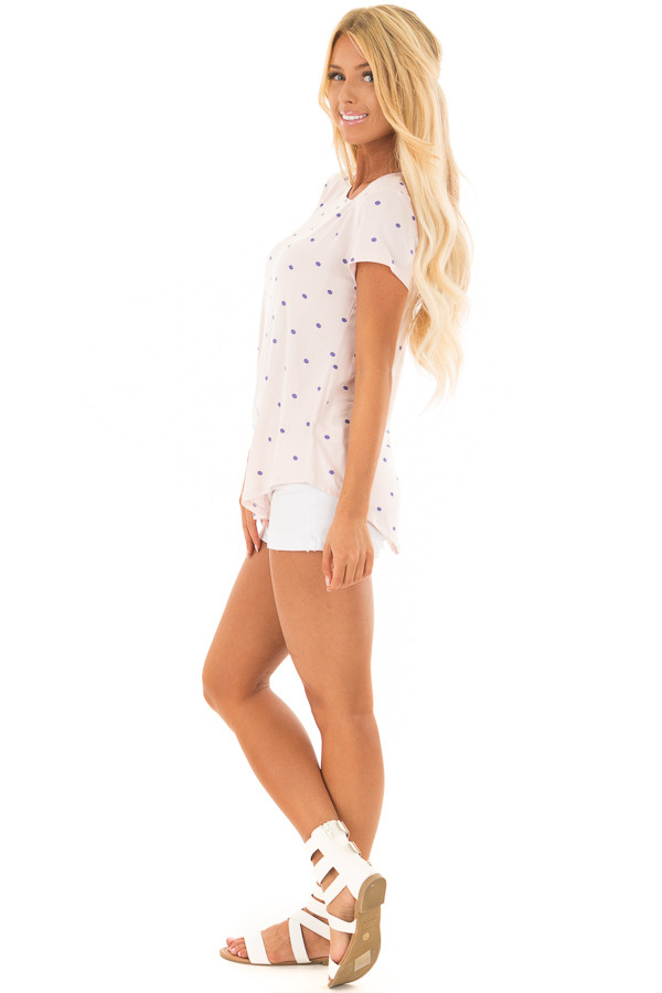 Blush Polka Dot Crew Neck Top with Short Sleeves side full body