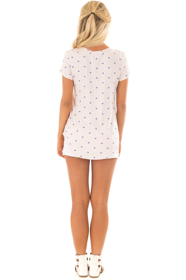 Blush Polka Dot Crew Neck Top with Short Sleeves back full body
