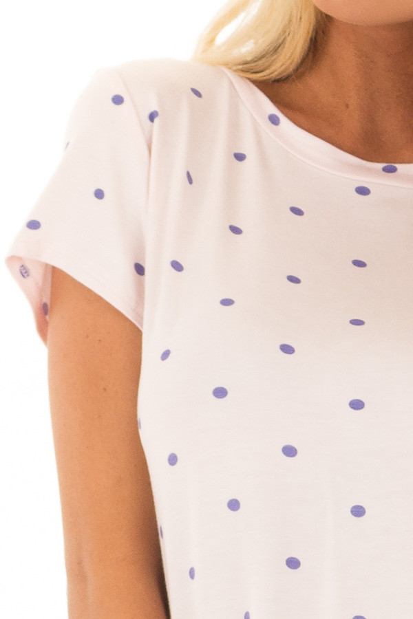 Blush Polka Dot Crew Neck Top with Short Sleeves front detail