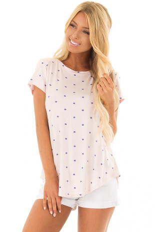 Blush Polka Dot Crew Neck Top with Short Sleeves front closeup