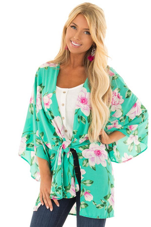 Mint Floral Print Short Sleeve Kimono with Side Tie Option front closeup