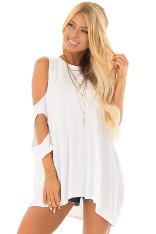 White 3/4 Sleeve Cold Shoulder Top with Elbow Cut Out Detail front closeup