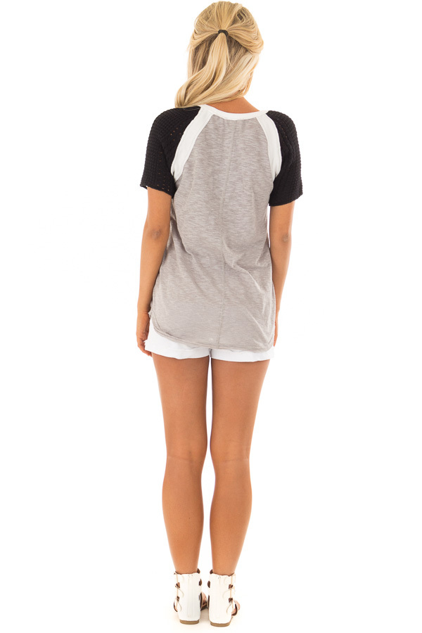 Heather Grey Short Sleeve Top with Black Crochet Sleeves back full body