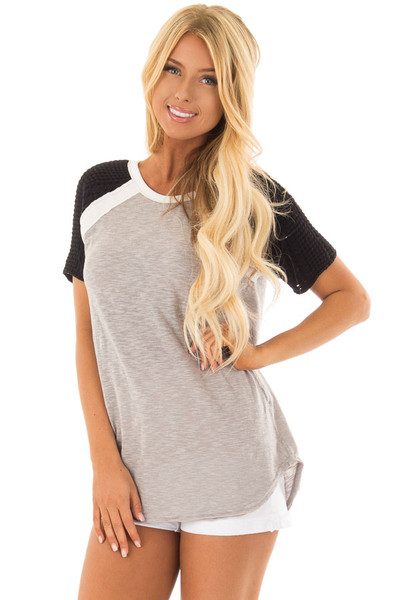 Heather Grey Short Sleeve Top with Black Crochet Sleeves front closeup