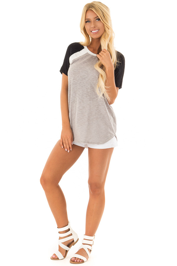 Heather Grey Short Sleeve Top with Black Crochet Sleeves front full body