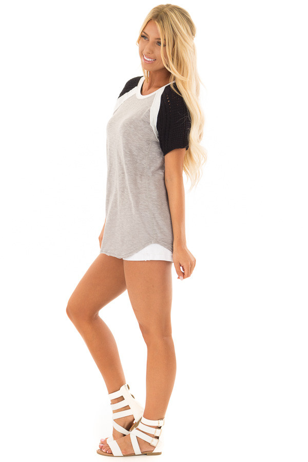 Heather Grey Short Sleeve Top with Black Crochet Sleeves side full body