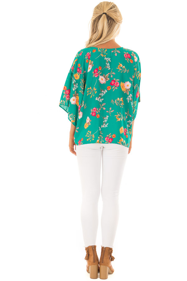 Emerald Green Floral Print Blouse with Front Tie back full body