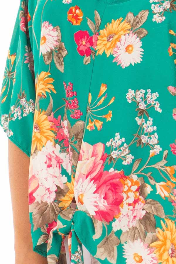 Emerald Green Floral Print Blouse with Front Tie front detail