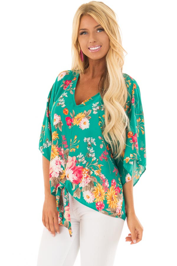 Emerald Green Floral Print Blouse with Front Tie front closeup
