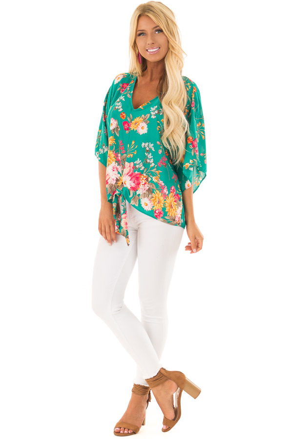 Emerald Green Floral Print Blouse with Front Tie front full body