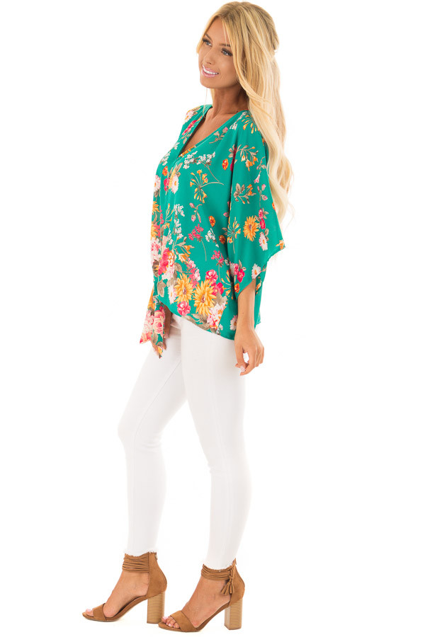 Emerald Green Floral Print Blouse with Front Tie side full body