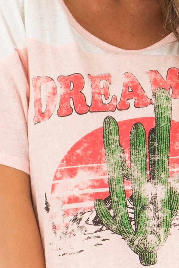 Blush 'Dreamer' Tee Shirt with Desert Graphic front detail