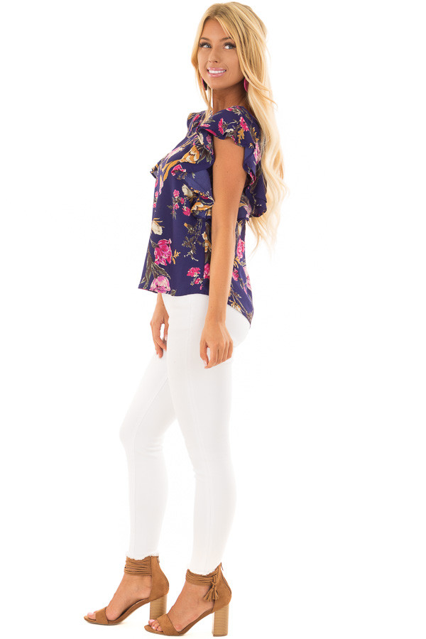 Navy Floral Print Ruffle Sleeve Blouse with Keyhole Back side full body