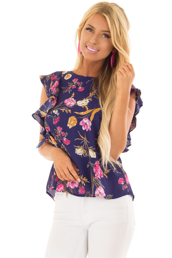 Navy Floral Print Ruffle Sleeve Blouse with Keyhole Back front closeup