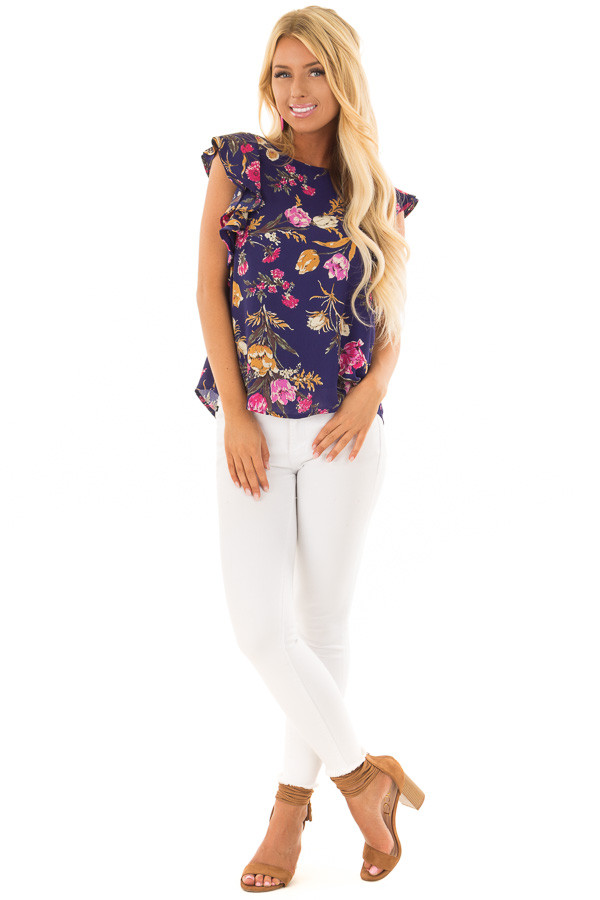 Navy Floral Print Ruffle Sleeve Blouse with Keyhole Back front full body