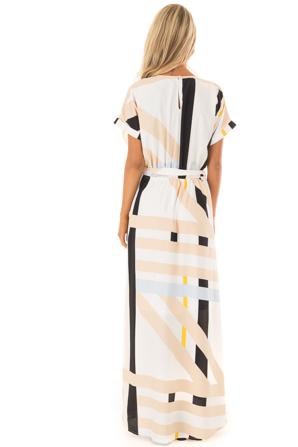 Taupe and Black Multi Stripe Dress with Front Tie Detail back full body