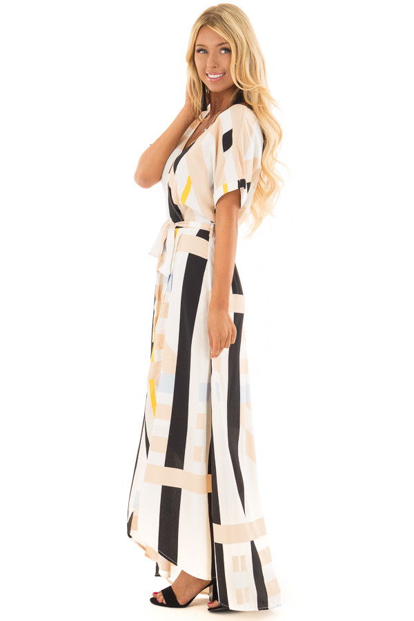 Taupe and Black Multi Stripe Dress with Front Tie Detail side full body