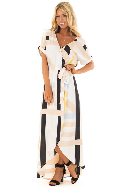 Taupe and Black Multi Stripe Dress with Front Tie Detail front full body