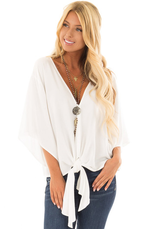 Porcelain White Oversized Comfy Top with Front Tie front closeup