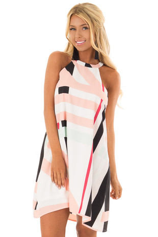 Blush and White Multi Stripe High Neck Dress front closeup