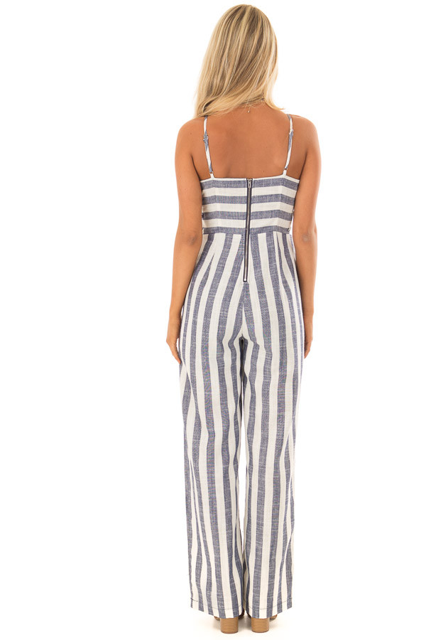 Navy and Off White Striped Jumpsuit with Side Cutouts back full body